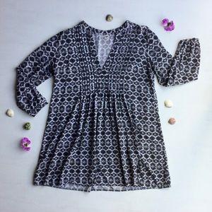 Old Navy - Black & White, Long Sleeve, Mini Dress